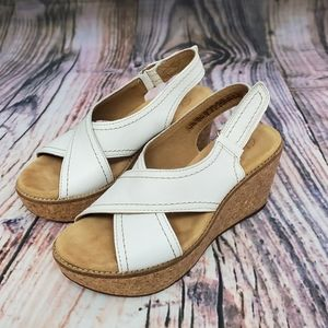 Clarks Aisley Tulip Leather Cork Wedge Sandals